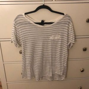 Stripped Scoop Neck T Shirt